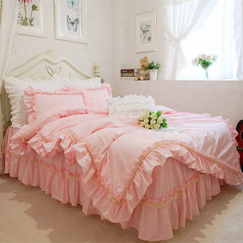 New ruffle lace bedding set elegant princess bedding matching duvet cover flower printed bedspread emboridery bedsheet