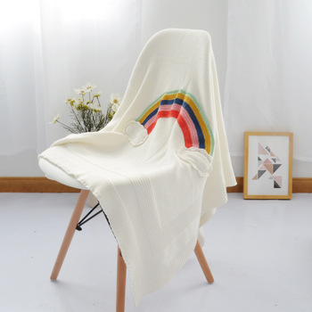 White Rainbow Colors Kids Swaddle 3D Cartoon Cotton Knitted Blanket Decorative Throw Bedding Sofa Air Mantas Blanket 110X130CM